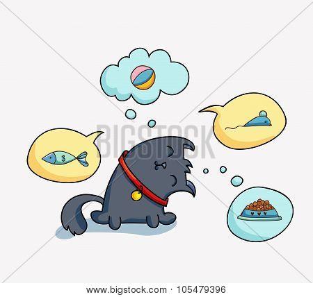 Cute cartoon cat and speach bubbles.