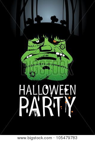 Halloween Party Design template, with Frankenstein, rasterized version.