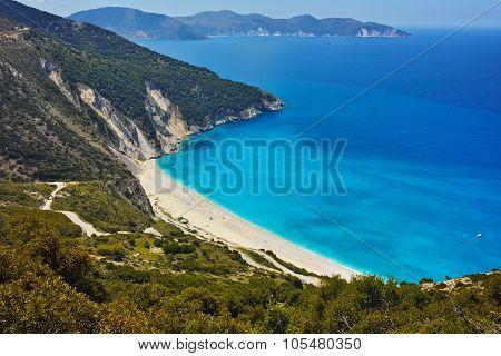 Panoramic View of beautiful Myrtos beach, Kefalonia