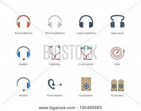 Headphones color icons on white background