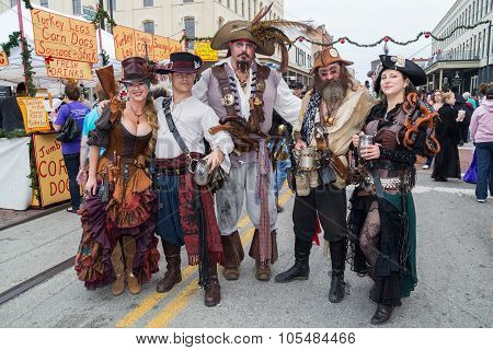 Galveston, Tx/usa - 12 06 2014: Group Of People Dressed As Fantasy Pirates At Dickens On The Strand