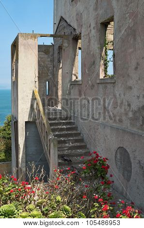 Derelict Building And Garden On Alcatraz