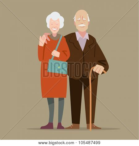 Happy grandparents. Vector illustration in cartoon style poster