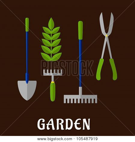 Isolated gardening tools flat icons