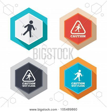 Hexagon buttons. Caution wet floor icons. Human falling triangle symbol. Slippery surface sign. Labels with shadow. Vector poster
