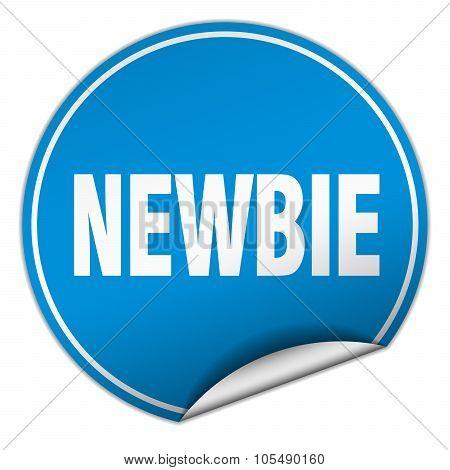 Newbie Round Blue Sticker Isolated On White