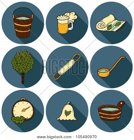 Set of hand drawn sauna icons: broom, towel, hat, wisp, beer, steam. Relaxation, health care or treatment concept for your design poster
