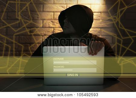 Hacker working with computer poster