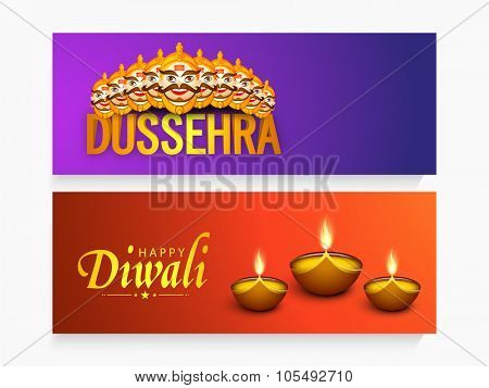Shiny website header or banner set with Ravana and illuminated oil lit lamps for Indian Festival, Happy Dussehra and Happy Diwali celebration.