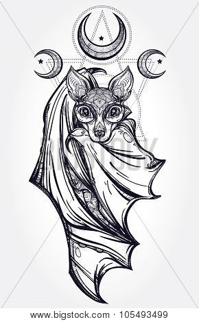 Ornate illustration of a bat in vintage style.