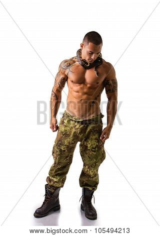 Muscular Man in Camo Pants with Snake Around Neck