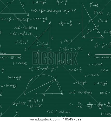 Seamless trigonometry pattern on green