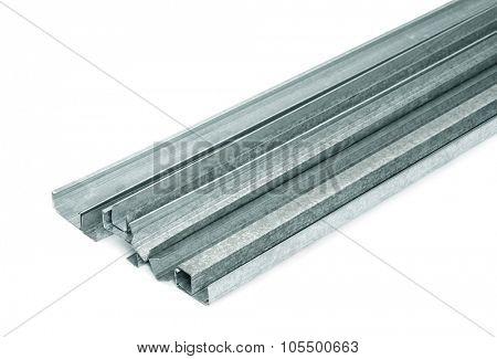 Close up of metal drywall profiles