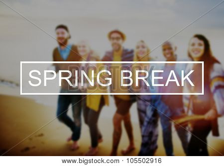 Spring Break Beach Party Teenager Adolescence Leisure Concept poster