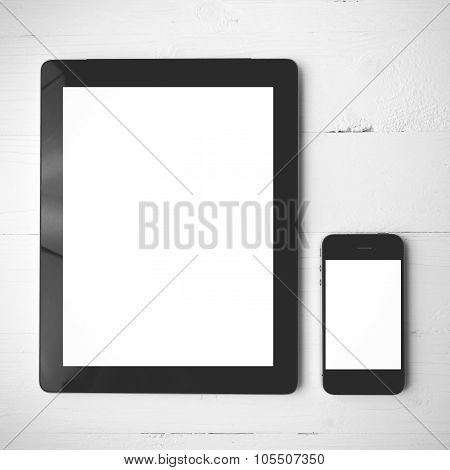 Tablet And Cellphone Black And White Color Style