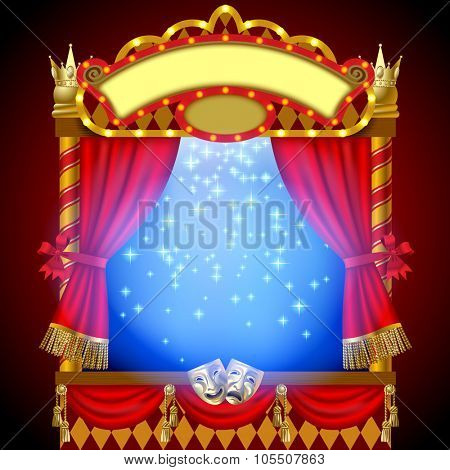 Puppet show booth with theater masks, red curtain, illuminated signboards and blue light inside. Vector Illustration