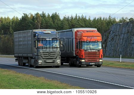 Scania Semi Truck Overtakes Another Truck