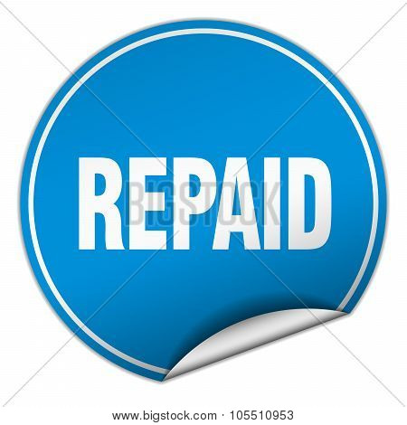 Repaid Round Blue Sticker Isolated On White