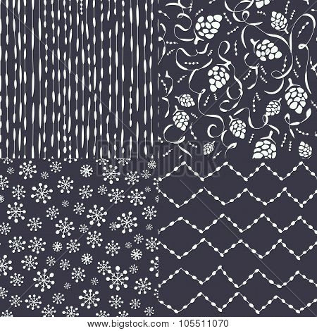 Set Of Abstract Christmas Patterns