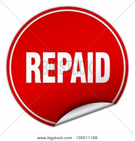 Repaid Round Red Sticker Isolated On White