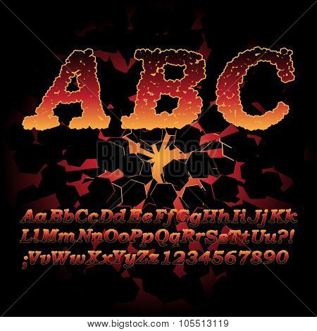 Lava font, Sizzling hot alphabet letters and digits with cracks poster