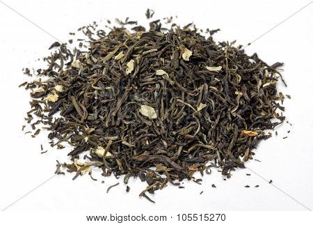 Tea With Petals Of Jasmine On A White Background