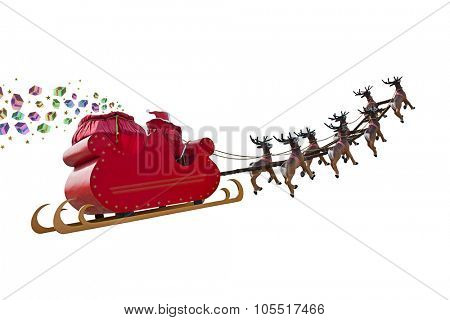 Santa Claus delivering gifts around the world by riding a sleigh led by reindeers isolated on white backgound