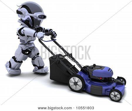 3D render of a man mowing the lawn poster