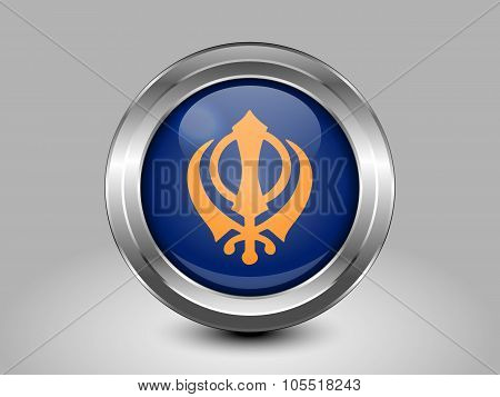 India Nishan Sahib Variant Flag. Metal Round Icon