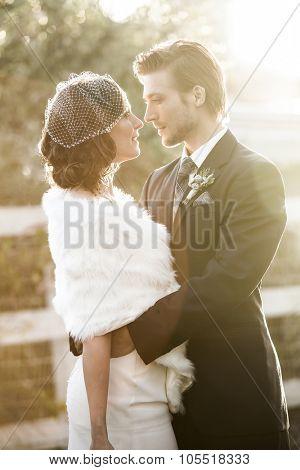 Beautiful wedding couple on their winter wedding