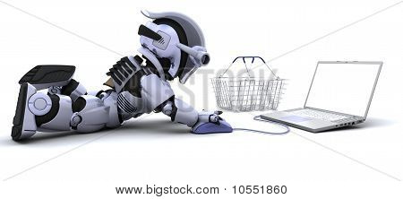 Man Shopping For Gifts On A Laptop