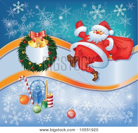 Santa card with Christmas decor