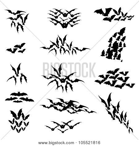 Flying bats vector set. Illustration for Halloween