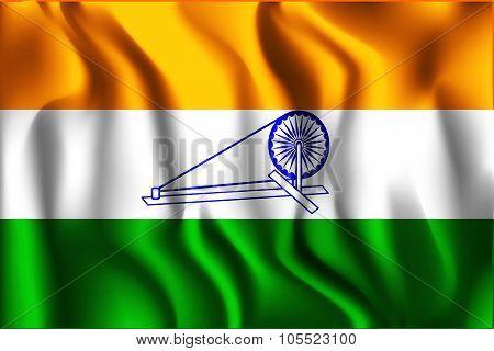 India Swaraj Variant Flag. Rectangular Shape Icon with Wavy Effect poster