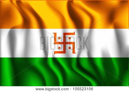 India Jain Variant Flag. Rectangular Shape Icon