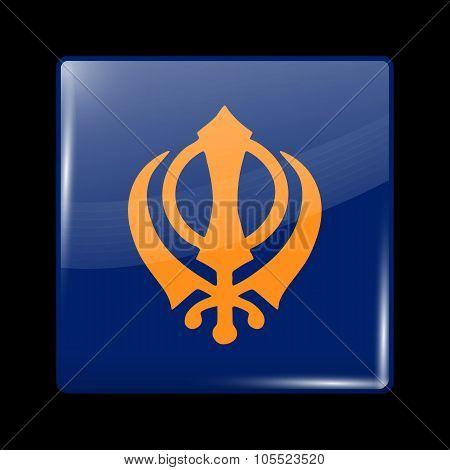 India Nishan Sahib Variant Flag. Glassy Icon Square Shape