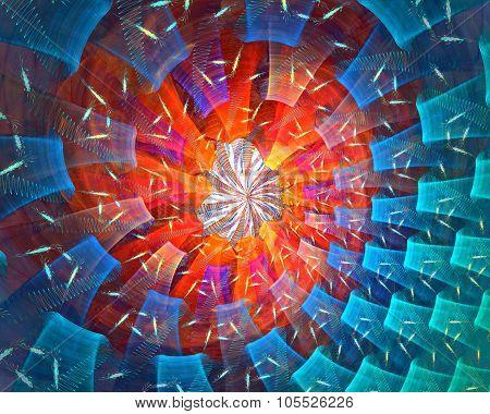 Atomic fire. Fractal background