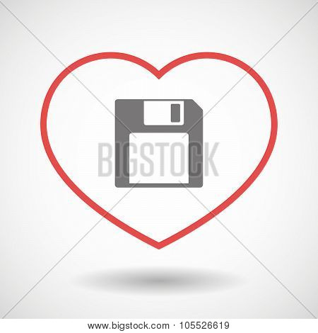 Illustration of a line hearth icon with a floppy disk poster