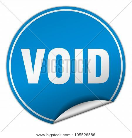 Void Round Blue Sticker Isolated On White