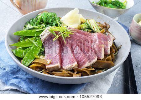 Tuna Tataki with Teriyaki Rice Noodles