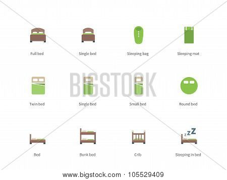 Hotel beds and Sleep signs color icons on white background.