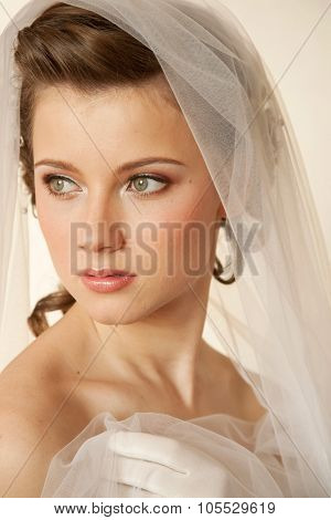 Young bride turned to the lihgt with the viel in her hand