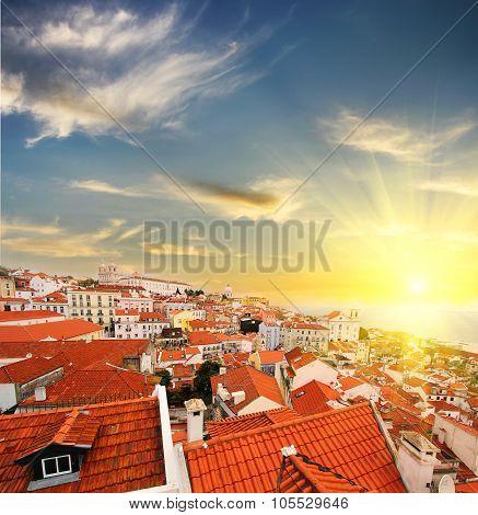 Lisbon skyline at sunset. Portugal . Travel background