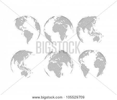 Set of vector abstract dotted globes. Six globes, including a view of the Americas, Asia, Australia, Africa, Europe and the Atlantic
