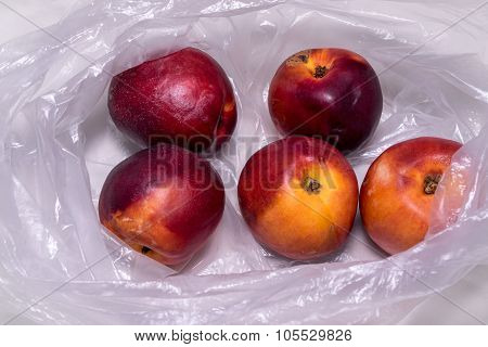 Nectarines in plastic bag, isolate