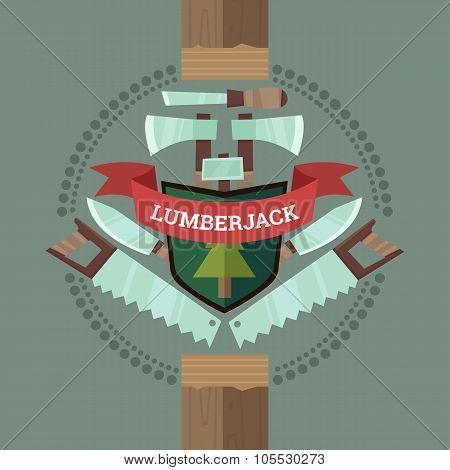 Vintage Lumberjack Crest Emblem In Flat Cartoon Style