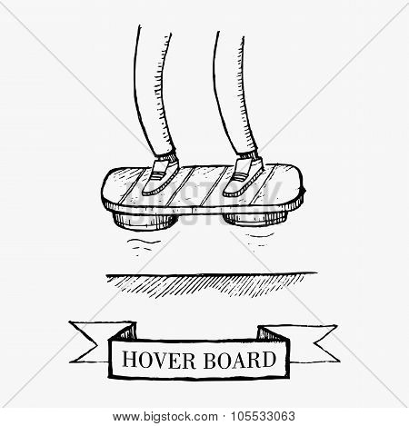 Vector Vintage Hover Board New Technology Flying Skate Hand Drawn Illustration