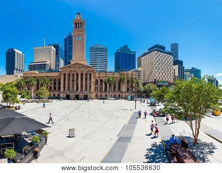 BRISBANE, AUS - OCT 21 2015: Fish eye view of Brisbane City Hall. The building is used for royal receptions, orchestral concert, graduations and political meetings.