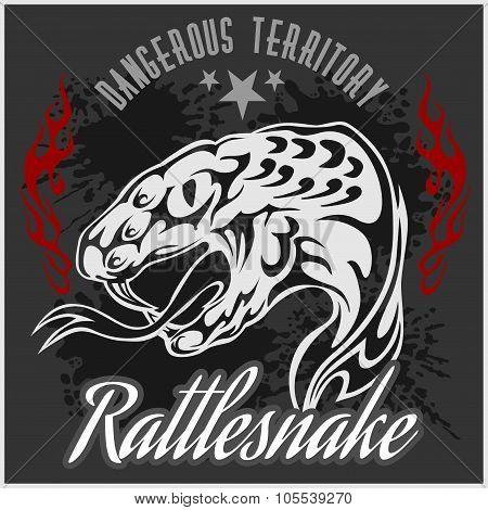 Wild west and rattlesnake - vintage vector artwork for wear