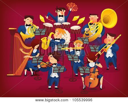 People in musicians pit playing in classic symphonic orchestra on all kinds of instruments poster
